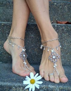 Silver WEDDING BAREFOOT SANDALS Chain sandals bridal by GPyoga