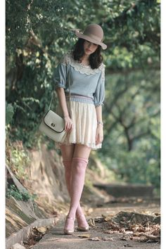 """Sky Blue Snidel Sweaters, Nude Monki Hats, Ivory Zara Skirts 