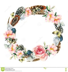 Watercolor Wreath With Bird Feathers, Briar Flowers And Butterfly ...