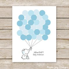 ►Want the guestbook for FREE? I have the version with strings on my blog that you can customize yourself. Just copy this link into your browser: http://www.aspenjay.com/elephant-baby-shower-guest-book-printable/ ► ► ► ► ► ► ► ♥ Blue Elephant Balloon Customized Guest Book for Baby Shower Birthday This Elephant Baby Shower Guest Book is a great alternative to the standard guest book and sooooooo much cuter! Ask each guest to sign a balloon/circle when they first enter and then give the framed…