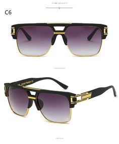 d0256d7863 2017 Fashion High Quality Brand Designer Flat Top Sun Glasses Gold Square  Male Oversized Men Sunglasses Oculos de sol