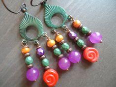 Verdigris Patina Mini Chandelier Earrings by BijouxFan, on Etsy