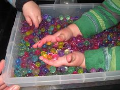 Water Beads! | Pre-school Play - used by florists, eBay sell them for 99p for 2 packs, great sensory play for pre school