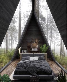 A Frame Cabin, A Frame House, Cabins In The Woods, House In The Woods, Modern Interior Design, Interior Architecture, Amazing Architecture, Building Architecture, Modern House Design