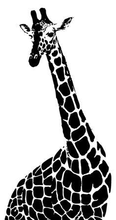 Ilustración gratis - Girafa con cuello largo en blanco y negro
