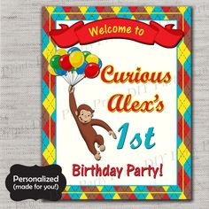 Curious George door sign,Curious George Birthday sign,JPG file,Birthday sign,Curious George welcome sign,Curious George,DPP81