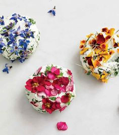 "Simply mix the chopped flowers (petals and leaves) into soft goat cheese, then shape the shape and dab more flowers over it. Any edible flower will work. Paprika nasturtium, borage and pansies are shown here. This recipe appears in our cookbook ""Ma Arugula Recipes, Edible Creations, Flower Food, Goat Cheese, Vegan Cheese, Pansies, Food Art, Food Inspiration, Tea Party"