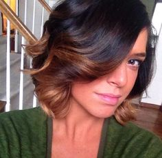 Dark brunette ombre for short hair