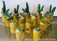 Empresa Elemental - Produtos: Mini Jardim com Vaso de Bambu _Produto Elemental Backyard Garden Landscape, Small Backyard Gardens, Large Backyard, Garden Trees, Deck Landscaping, Garden Oasis, Bamboo Planter, Bamboo Art, Bamboo Crafts