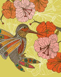 Emilia the bird - Art Print- Bird Decor - Decor - Room decor - Cute Bird - Flowers - Doodle Art - Flowers Print Decor - Animal Print Decor Hummingbird Art, Whimsical Art, Pretty Art, Bird Prints, Doodle Art, Flower Art, Pop Art, Contemporary Art, Original Artwork