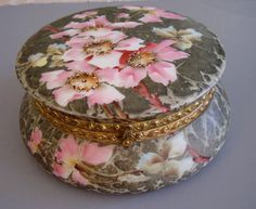 "KELVA opaque blown-molded hand painted glass hinged lidded dresser box with hand painted pink wild roses on gray-brown mottled background, 7-3/4"". Made by C.F. Monroe Co. in Meriden, Conn., who also made Wavecrest and Nakara glass, circa 1900."
