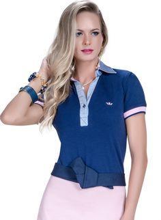 blusa polo feminina principessa nicole marinho look Blusa Polo Feminina 429250cb170ce