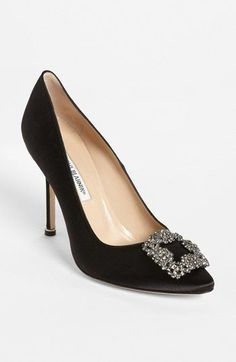 Manolo Blahnik 'Hangisi' Jeweled Pump in Black. Wedding shoe. #weddingshoes