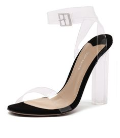 This heel with clear vynalite straps and acrylic block heel will make it easy to feel sexy and gorgeous this season. Style them with skirts, dresses and statement accessories. Shop 'Kiki Clear Vynalite Black Suede' by Tony Bianco at styletread.com.au