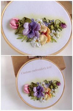 Ribbon Embroidery Ideas Personalized name or word sign embroidery art Is perfect for the special event in yours or friend's life! Name Embroidery, Hand Embroidery Stitches, Silk Ribbon Embroidery, Custom Embroidery, Cross Stitch Embroidery, Embroidery Patterns, Ribbon Art, Creations, Rococo