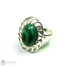 Ezüst gyűrű malachit kővel Gemstone Rings, Turquoise, Gemstones, Jewelry, Malachite, Jewlery, Gems, Jewerly, Green Turquoise