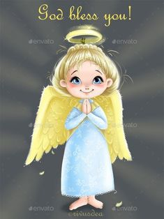 Buy Clip Art with Cute Little Angel Girl by Rivusdea on GraphicRiver. Clip art with Cute little Angel mascot girl with wings for Christmas and New Years greeting cards, scrapbooking and s. Angel Illustration, Cute Illustration, Character Illustration, Angel Images, Angel Pictures, Angel Theme, Angel Guide, Angel Drawing, Coloring Book Art