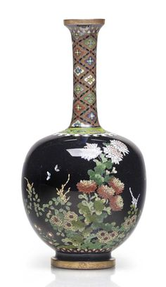 An enamel vase Meiji period (late century), signed Kyoto Namikawa Japanese Flowers, Japanese Art, Asian Vases, Japan Crafts, Oriental Decor, Japanese Porcelain, Porcelain Vase, Painted Porcelain, Ceramic Art