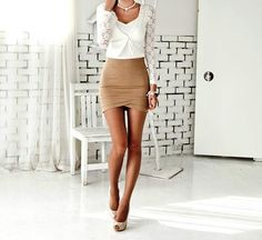 lace sweater. high waisted neutral skirt! i LOVE this outfit