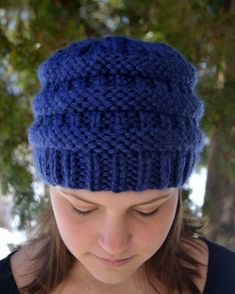 Knit Chunky Beanie Hat BoxCar Hand Knit in NAVY by Gone2Pieces