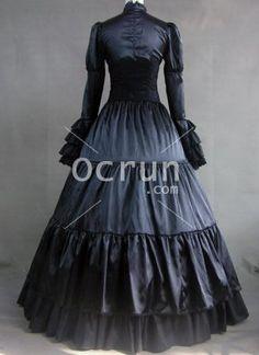 Lange Sleeves schwarz Gothic viktorianischen Stil Kleid