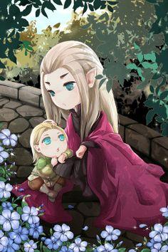 Little Legolas and his ada Thranduil