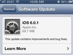 Apple disponibiliza iOS 6.0.1
