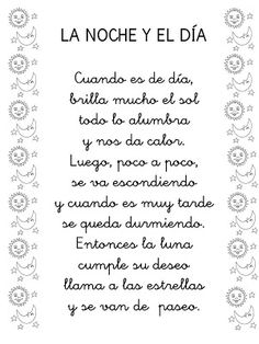 La noche y el día- poetry with art Spanish Help, Spanish Songs, Spanish Lessons, Spanish Teacher, Spanish Classroom, Teaching Spanish, Bilingual Education, Kids Education, Elementary Spanish
