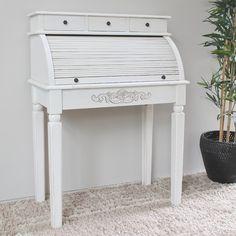 One Allium Way Fleuriel Antique White Indoor Roll Top Desk
