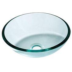 Moderne Transparent hærdet glas Runde Bathroom Sink med vandafløb og monteringsringen - DKK kr. 970