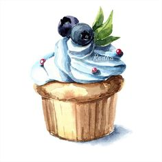 Radha namini : Cupcake Cupcake Drawing, Cupcake Art, Cupcake Illustration, Watercolor Illustration, Food Art Painting, Painting & Drawing, Watercolor Food, Watercolor Paintings, Sweet Drawings
