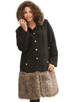 fceb5644423 Roamans Plus Size Faux Fur Skirt Coat (Black