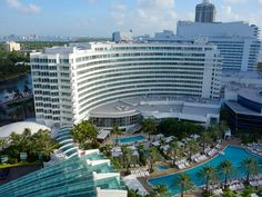 An aerial view of the Fontainebleau hotel, an architectural icon.