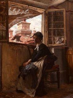 """Giovanni Boldini (Italian, 1842-1931) """"Dalla soffitta di Ferrara con la sorella"""" Giovanni Boldini, Victorian Paintings, Italian Paintings, Art Academy, Manet, Ravenna, Italian Artist, Old Master, Belle Epoque"""