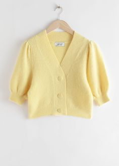 & Other Stories Puff Sleeve Wool Blend Cardigan amarillo pastel Fashion Story, Girl Fashion, Fashion Outfits, Yellow Cardigan, Knit Cardigan, Color Type, Mode Chanel, Mellow Yellow, Pastel Yellow