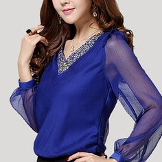 Find More Blouses & Shirts Information about blusa feminina com tule 2014 autumn camisa feminina manga longa loose V neck long sleeved chiffon  blusa chifon e renda,High Quality Blouses & Shirts from Excellent Service Trading Store on Aliexpress.com
