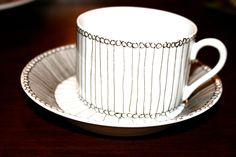 Black and White Hand Drawn Teacup and Saucer with Pattern. $22.00, via Etsy.
