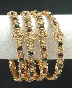 Gorgeous bridal ruby green gold tone polki cz LCT 4pc thin bangle bracelet l6155 | eBay