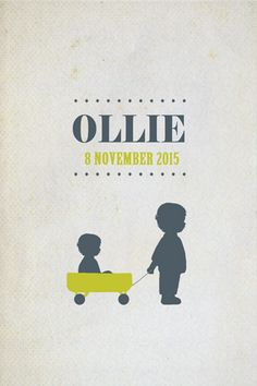 Geboortekaartje Ollie - Pimpelpluis - https://www.facebook.com/pages/Pimpelpluis/188675421305550?ref=hl (# broertje - broer - kindjes - lief - bolderkar - trekkar - origineel)
