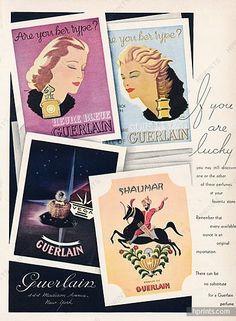 Guerlain (Perfumes) 1944 Lyse Darcy, Shalimar, L'heure Bleue, Vega, Sous le Vent