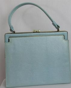 1950's Aqua Blue Vinyl Handbag