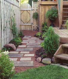 small side yard, garden ideas, garden paths, side yards, herbs garden, backyard, small spaces, small gardens, stepping stones