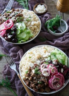 These Greek brown rice bowls are filled with everything you love about a gyro and a Greek salad combined, flavorful lamb, pickled red onions, cucumbers and of course, feta!