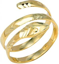 10k Yellow Gold Serpent Wrap Band Snake Coil Ring (Size 16) * Read more reviews of the product by visiting the link on the image.