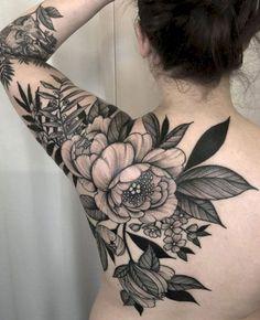 Black Flower Tattoos - Best Flower Tattoos For Women: Cute Floral Tattoo Designs. Black Flower Tattoos - Best Flower Tattoos For Women: Cute Floral Tattoo Designs and Ideas For Girls - Arm, Sleeve, Lotusblume Tattoo, Backpiece Tattoo, Cover Tattoo, Piercing Tattoo, True Tattoo, Tattoo Eagle, Dermal Piercing, Tattoo Fonts, Mandala Tattoo
