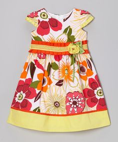 Loving this Yellow & Red Floral Cap-Sleeve Dress - Girls on #zulily! #zulilyfinds