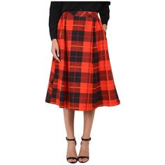 Kate Spade New York Woodland Plaid Midi Skirt ($368) ❤ liked on Polyvore featuring skirts, fairytale red, red midi skirt, red cotton skirt, a line midi skirt, red skirt and tartan skirt