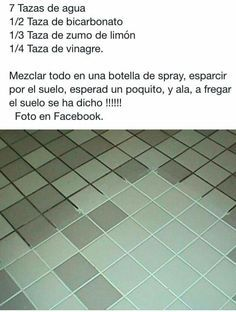 Truco de limpieza Cleaning Recipes, Cleaning Hacks, College Classes, Spring Cleaning, Good To Know, Tile Floor, Life Hacks, Diy Projects, Organization