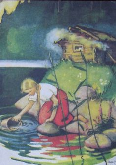 Martta Wendelin - Tyttö hakee vettä järvenrannasta