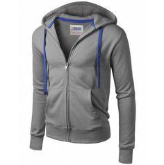 Doublju Mens Hood Zip Up with Contrast Zipper (AMOHO01).    #hoodises #menhoodises #mencloth #menclothing #doublju